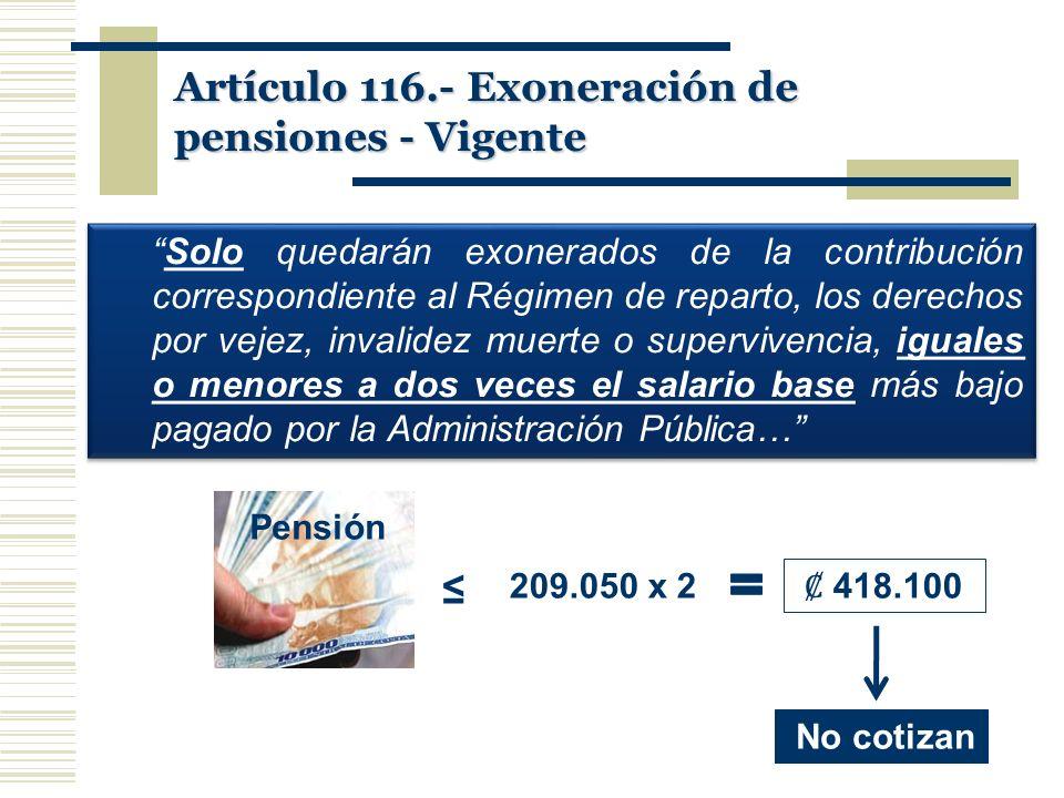 Artículo 116.- Exoneración de pensiones - Vigente