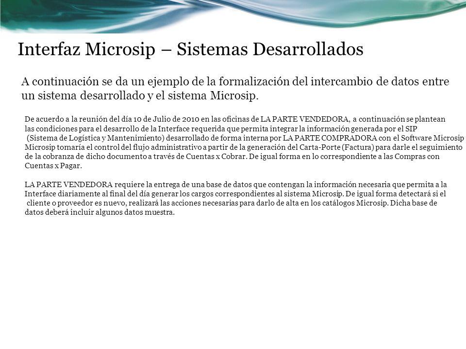Interfaz Microsip – Sistemas Desarrollados