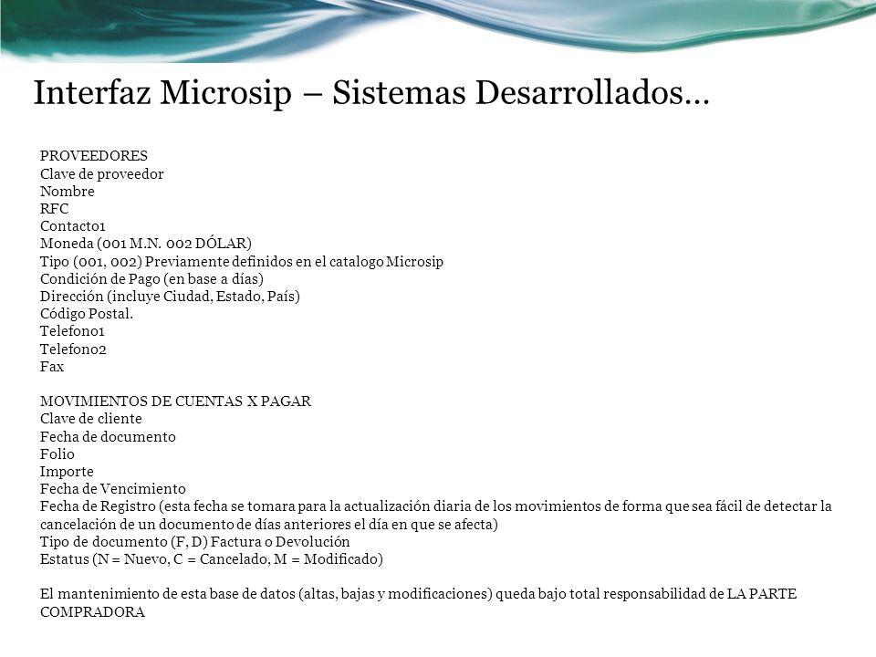 Interfaz Microsip – Sistemas Desarrollados…