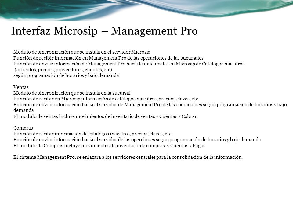 Interfaz Microsip – Management Pro