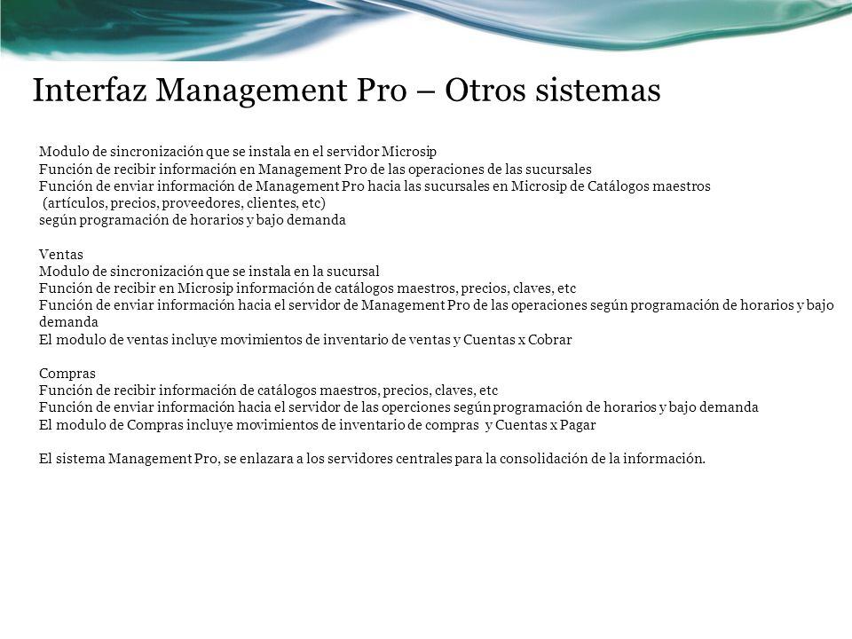 Interfaz Management Pro – Otros sistemas