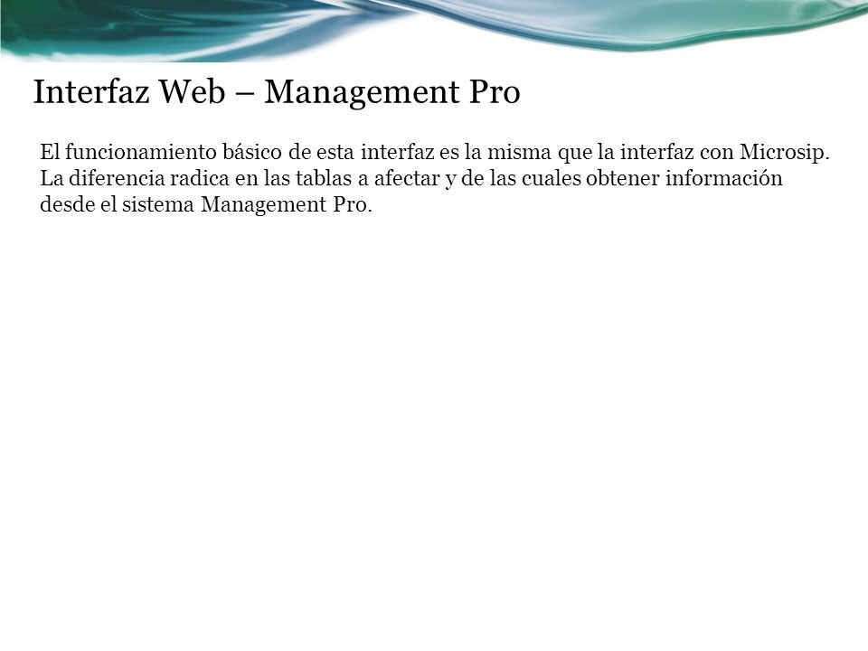 Interfaz Web – Management Pro