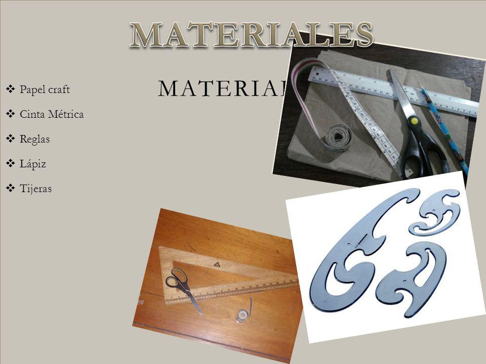 Papel craft Cinta Métrica Reglas Lápiz Tijeras MATERIALES MATERIALES