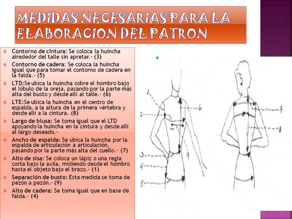 MEDIDAS NECESARIAS PARA LA ELABORACION DEL PATRON