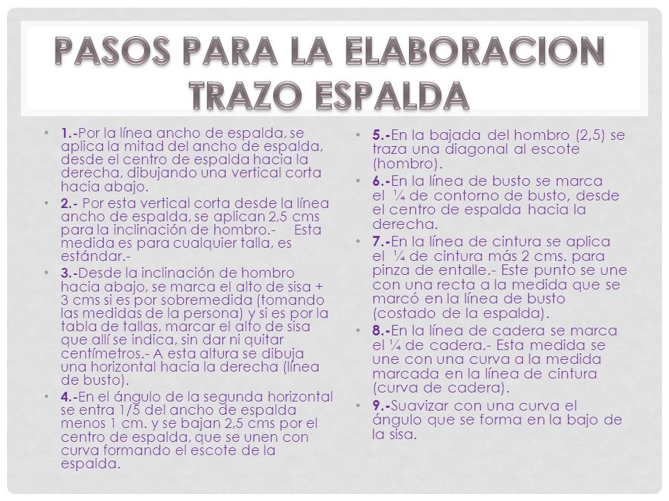 PASOS PARA LA ELABORACION TRAZO ESPALDA