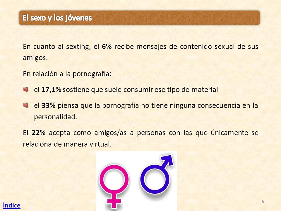 El sexo y los jóvenes En cuanto al sexting, el 6% recibe mensajes de contenido sexual de sus amigos.