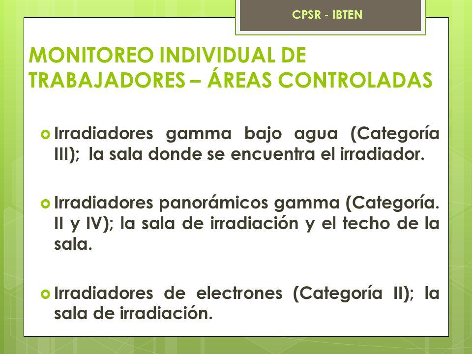 MONITOREO INDIVIDUAL DE TRABAJADORES – ÁREAS CONTROLADAS