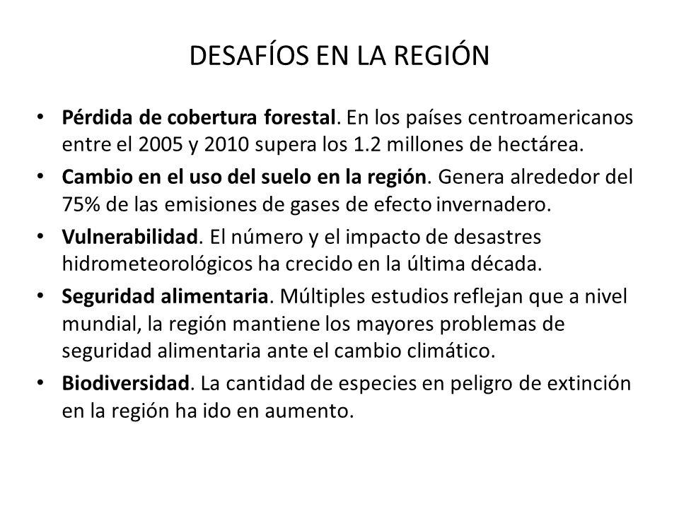 DESAFÍOS EN LA REGIÓNPérdida de cobertura forestal. En los países centroamericanos entre el 2005 y 2010 supera los 1.2 millones de hectárea.