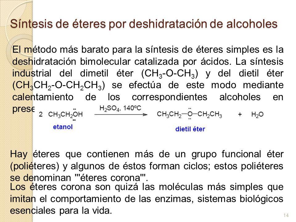 Síntesis de éteres por deshidratación de alcoholes