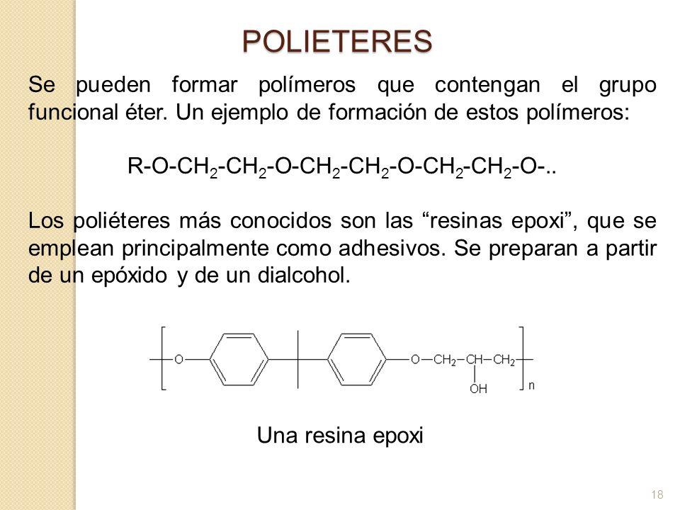 POLIETERES Se pueden formar polímeros que contengan el grupo funcional éter. Un ejemplo de formación de estos polímeros: