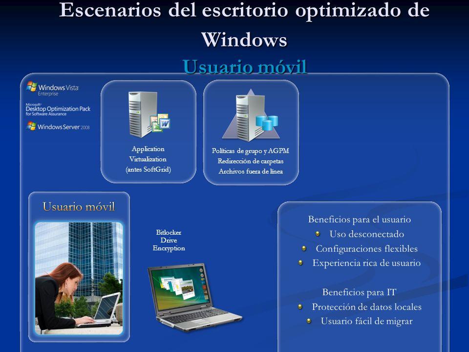 Escenarios del escritorio optimizado de Windows Usuario móvil