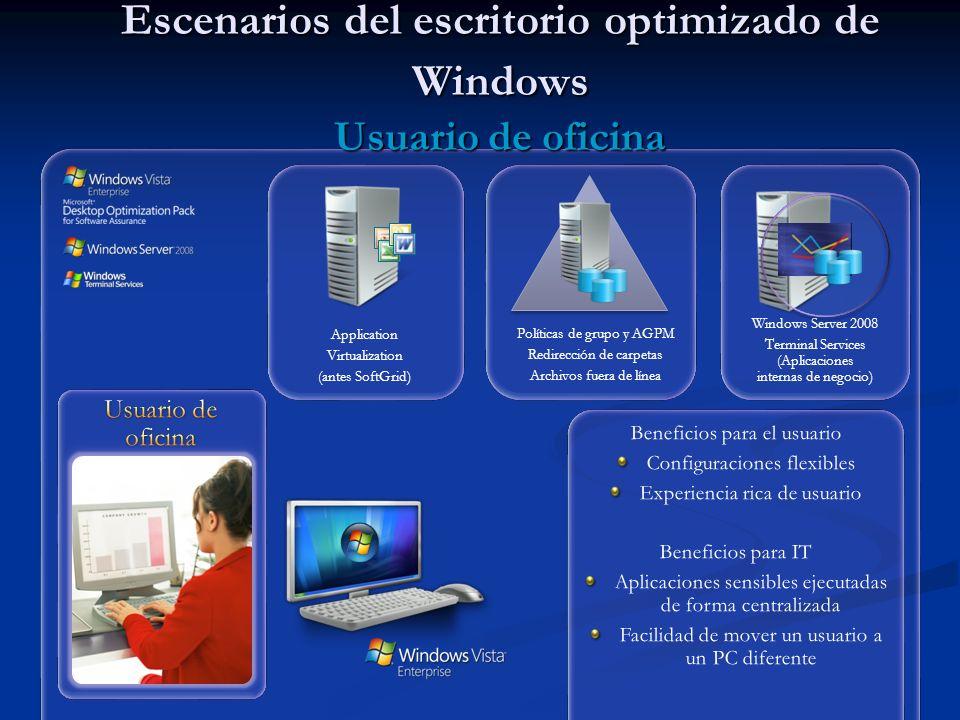 Escenarios del escritorio optimizado de Windows Usuario de oficina
