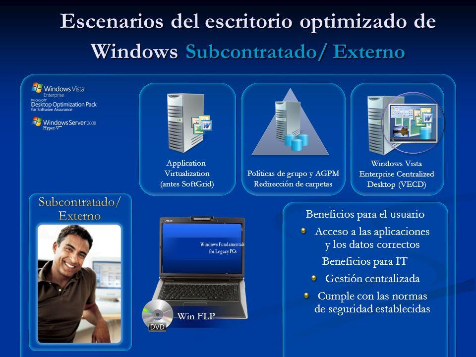 Escenarios del escritorio optimizado de Windows Subcontratado/ Externo