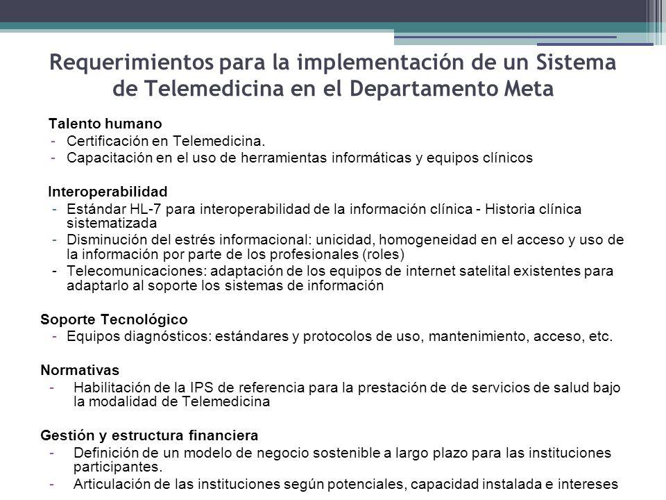 Requerimientos para la implementación de un Sistema de Telemedicina en el Departamento Meta