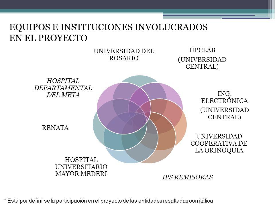 EQUIPOS E INSTITUCIONES INVOLUCRADOS EN EL PROYECTO