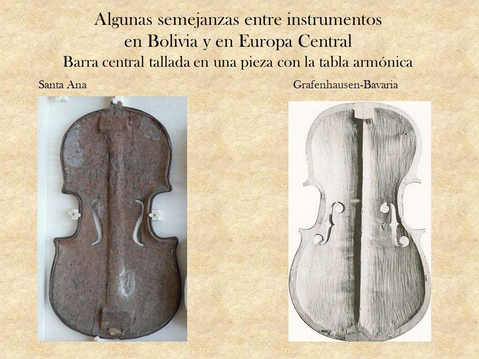Algunas semejanzas entre instrumentos en Bolivia y en Europa Central Barra central tallada en una pieza con la tabla armónica