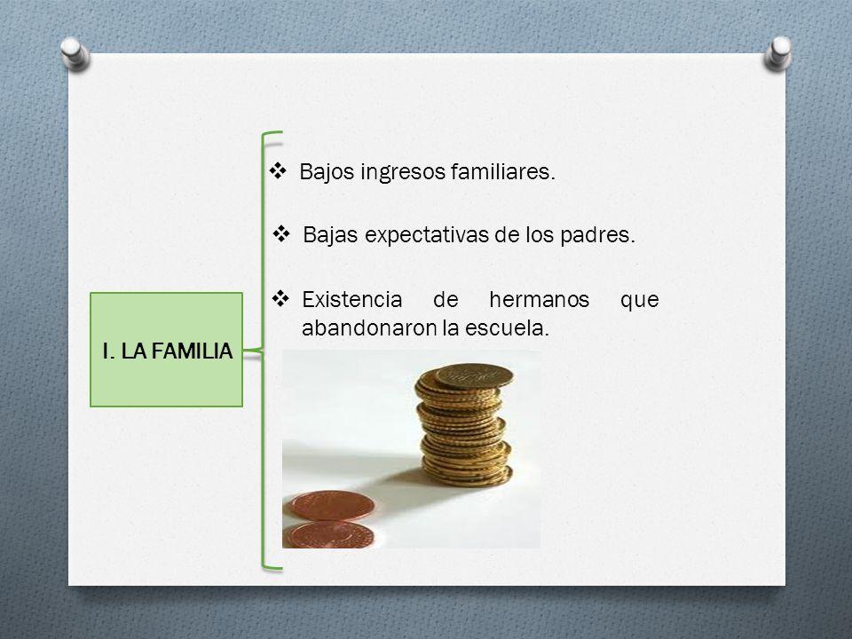 Bajos ingresos familiares.