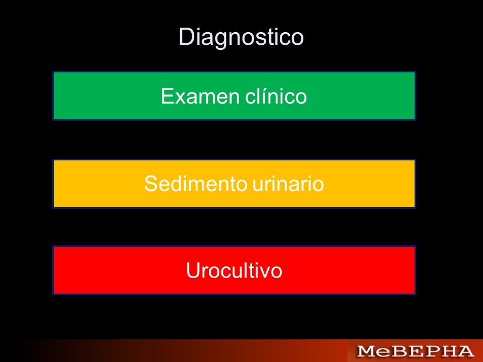 Diagnostico Examen clínico Sedimento urinario Urocultivo