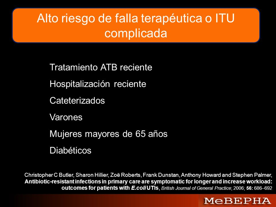 Alto riesgo de falla terapéutica o ITU complicada