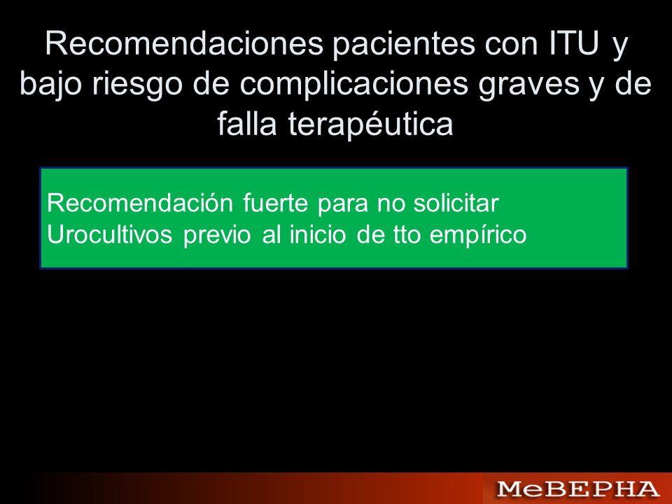 Recomendaciones pacientes con ITU y bajo riesgo de complicaciones graves y de falla terapéutica