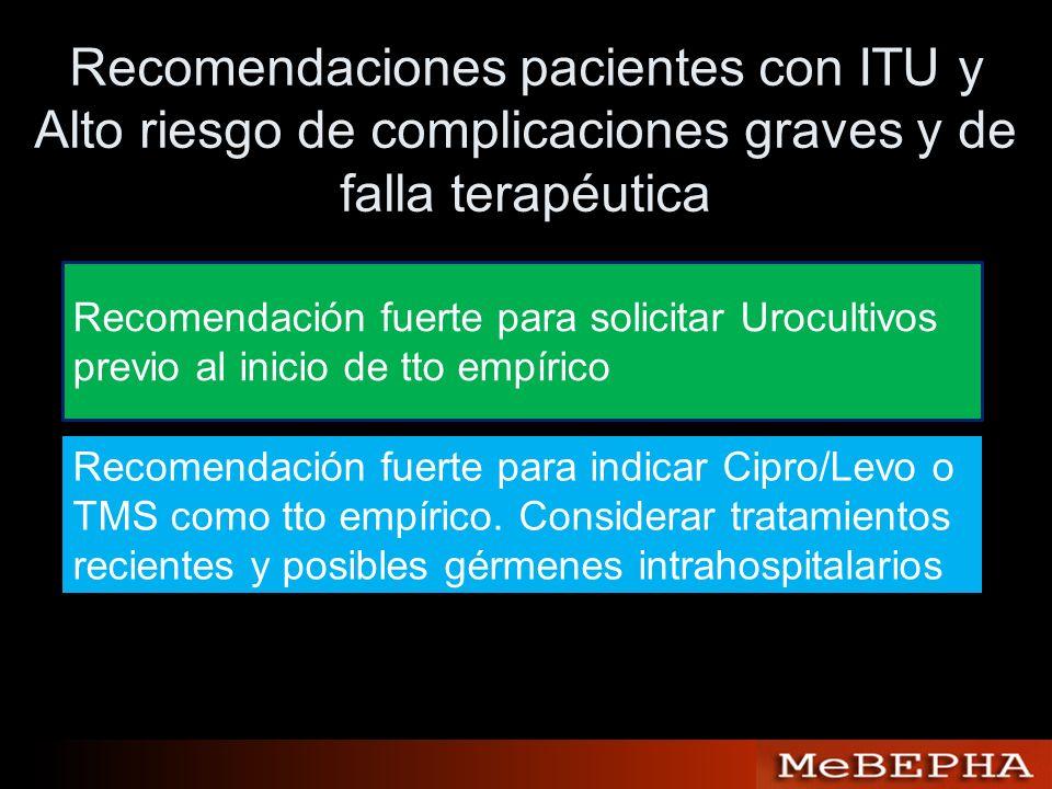 Recomendaciones pacientes con ITU y Alto riesgo de complicaciones graves y de falla terapéutica