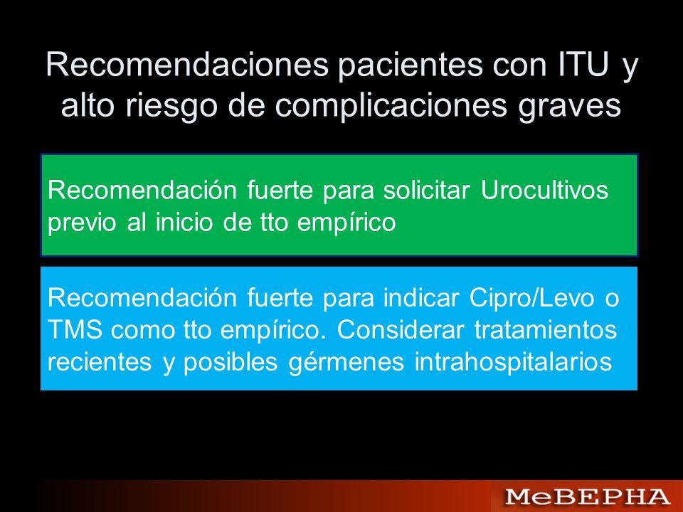 Recomendaciones pacientes con ITU y alto riesgo de complicaciones graves