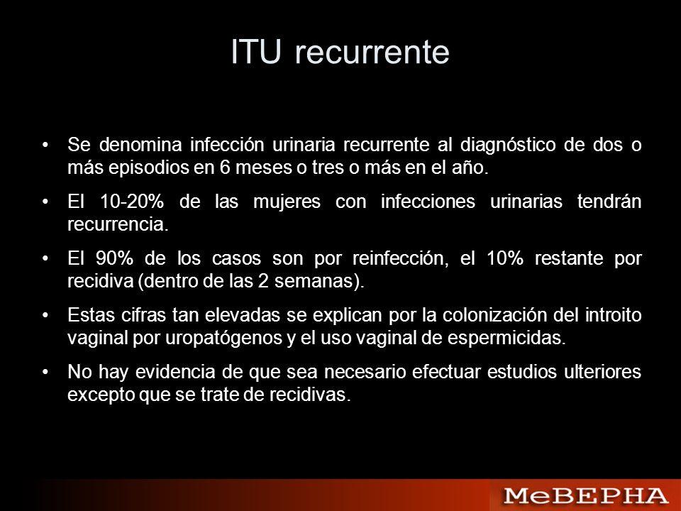 ITU recurrente Se denomina infección urinaria recurrente al diagnóstico de dos o más episodios en 6 meses o tres o más en el año.