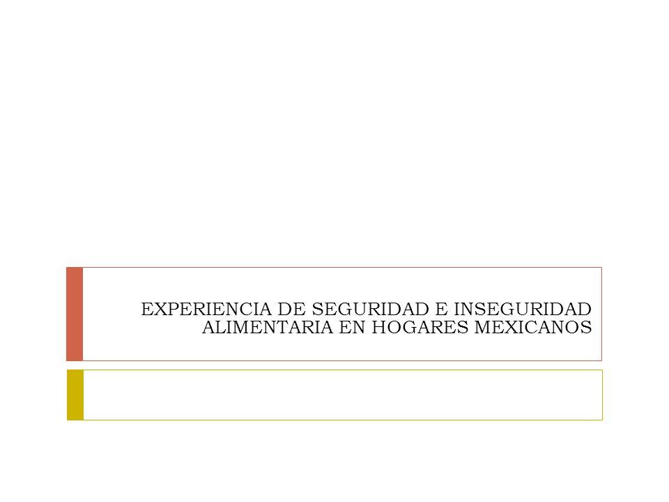 EXPERIENCIA DE SEGURIDAD E INSEGURIDAD ALIMENTARIA EN HOGARES MEXICANOS
