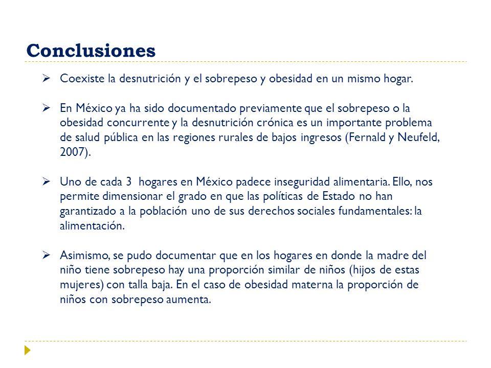 Conclusiones Coexiste la desnutrición y el sobrepeso y obesidad en un mismo hogar.
