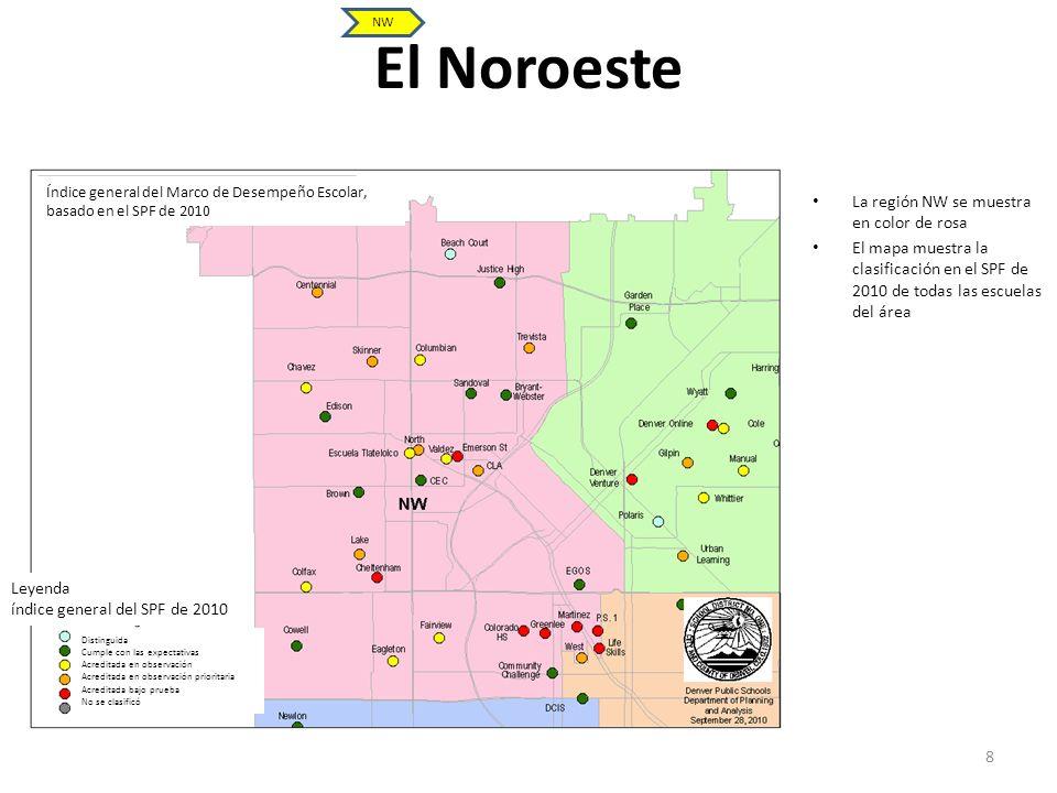 El Noroeste La región NW se muestra en color de rosa