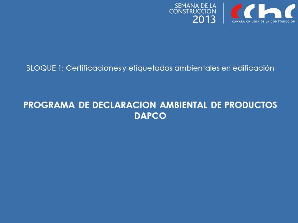 PROGRAMA DE DECLARACION AMBIENTAL DE PRODUCTOS