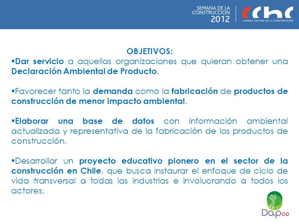 OBJETIVOS: Dar servicio a aquellas organizaciones que quieran obtener una Declaración Ambiental de Producto.