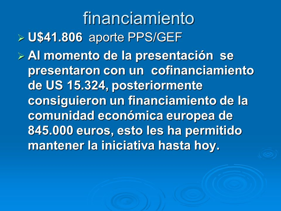 financiamiento U$ aporte PPS/GEF