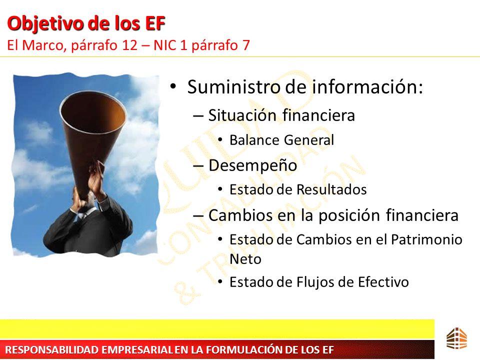 Objetivo de los EF El Marco, párrafo 12 – NIC 1 párrafo 7