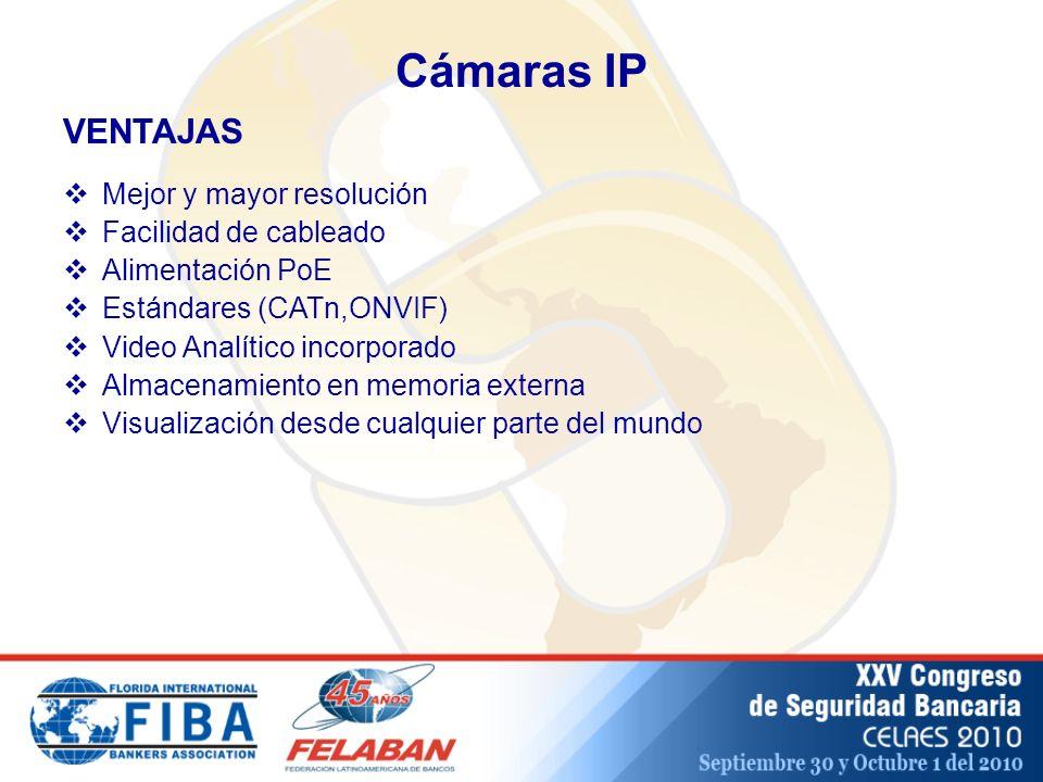 Cámaras IP VENTAJAS Mejor y mayor resolución Facilidad de cableado