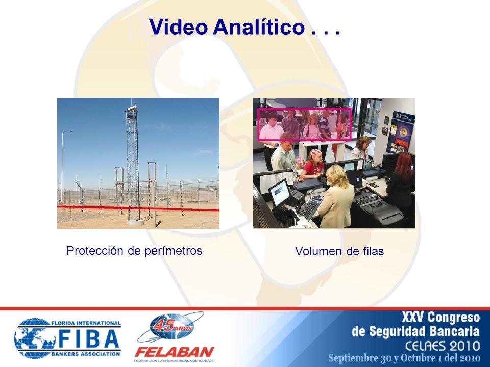 Video Analítico . . . Protección de perímetros Volumen de filas