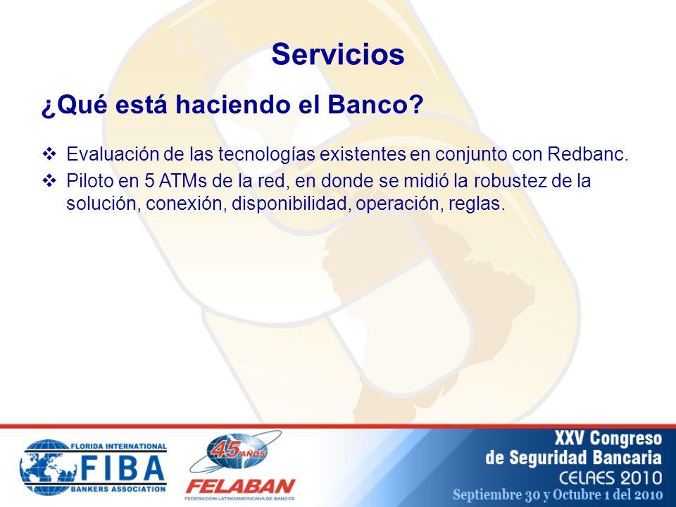 Servicios ¿Qué está haciendo el Banco