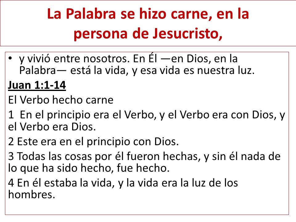 La Palabra se hizo carne, en la persona de Jesucristo,