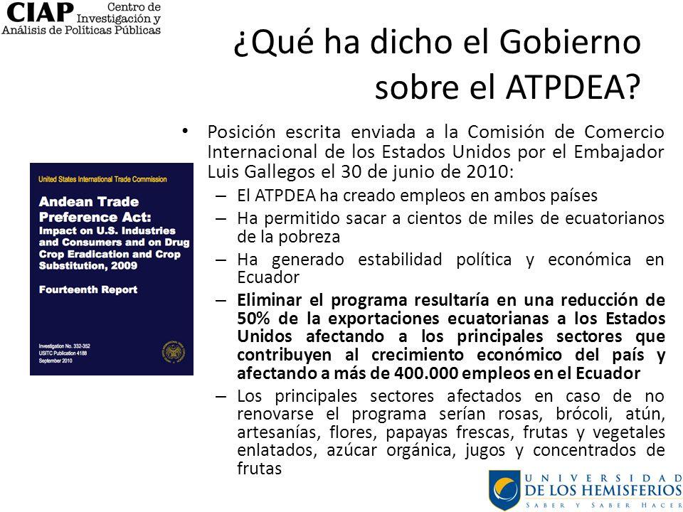 ¿Qué ha dicho el Gobierno sobre el ATPDEA
