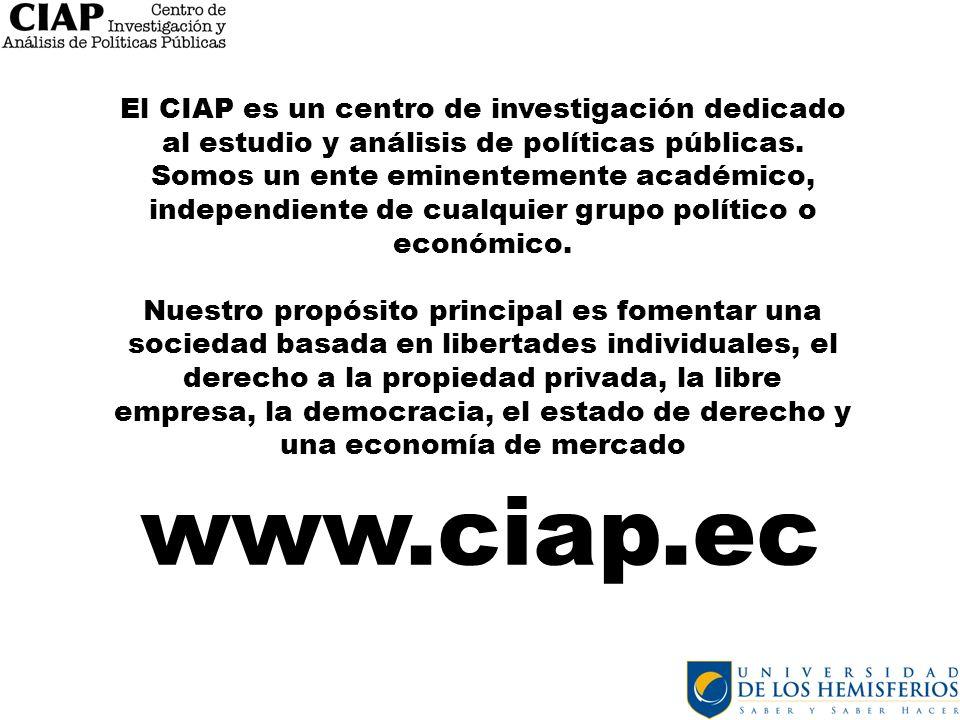 El CIAP es un centro de investigación dedicado al estudio y análisis de políticas públicas. Somos un ente eminentemente académico, independiente de cualquier grupo político o económico.