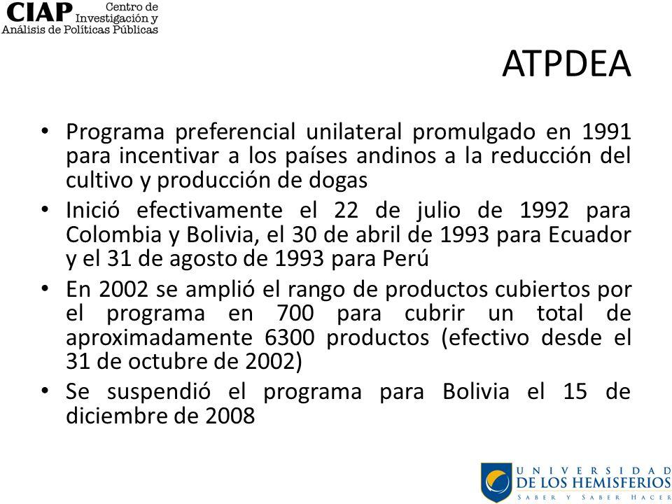 ATPDEA Programa preferencial unilateral promulgado en 1991 para incentivar a los países andinos a la reducción del cultivo y producción de dogas.