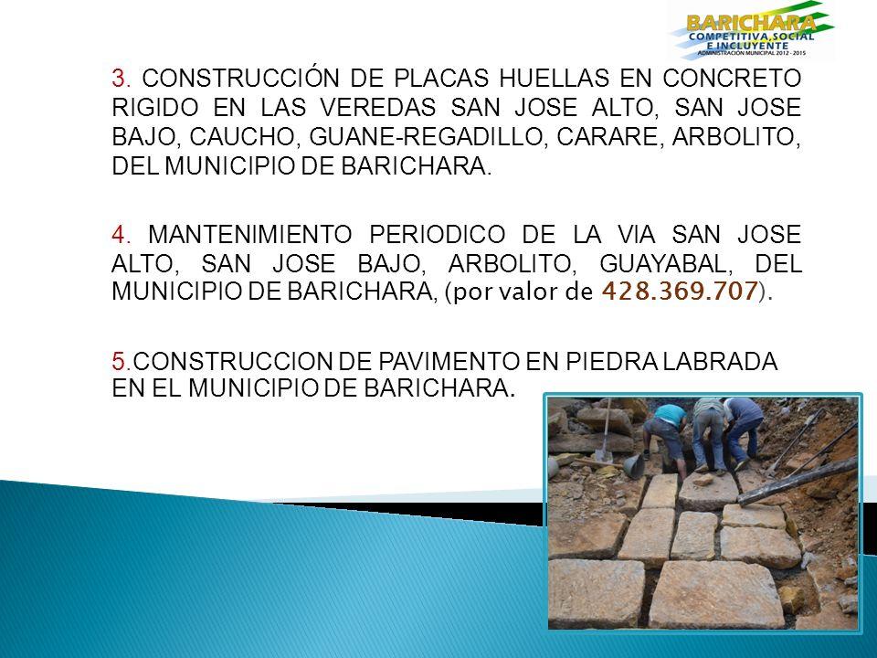 3. CONSTRUCCIÓN DE PLACAS HUELLAS EN CONCRETO RIGIDO EN LAS VEREDAS SAN JOSE ALTO, SAN JOSE BAJO, CAUCHO, GUANE-REGADILLO, CARARE, ARBOLITO, DEL MUNICIPIO DE BARICHARA.
