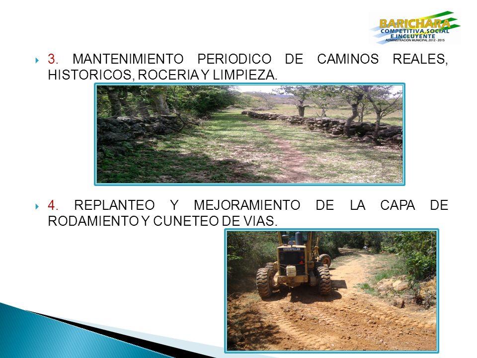 3. MANTENIMIENTO PERIODICO DE CAMINOS REALES, HISTORICOS, ROCERIA Y LIMPIEZA.