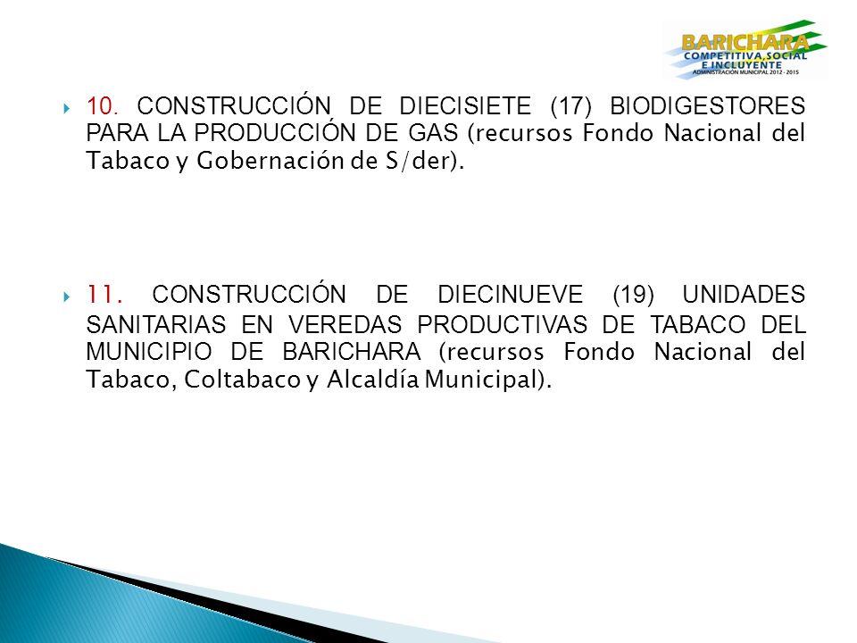 10. CONSTRUCCIÓN DE DIECISIETE (17) BIODIGESTORES PARA LA PRODUCCIÓN DE GAS (recursos Fondo Nacional del Tabaco y Gobernación de S/der).