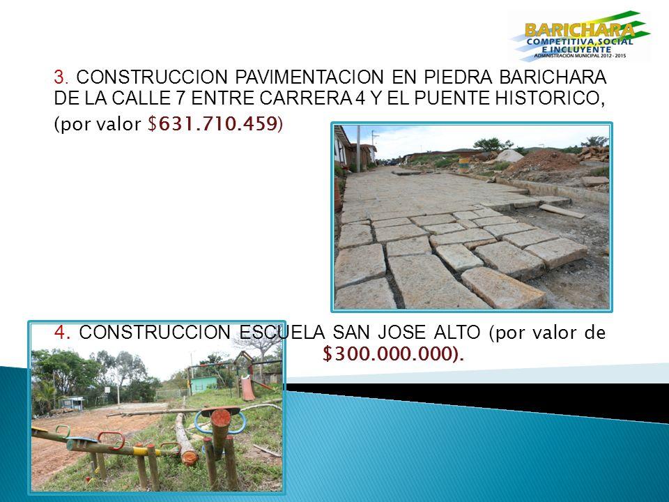 3. CONSTRUCCION PAVIMENTACION EN PIEDRA BARICHARA DE LA CALLE 7 ENTRE CARRERA 4 Y EL PUENTE HISTORICO,