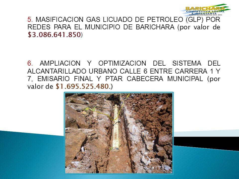 5. MASIFICACION GAS LICUADO DE PETROLEO (GLP) POR REDES PARA EL MUNICIPIO DE BARICHARA (por valor de $3.086.641.850)