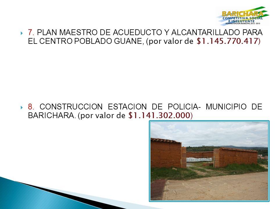 7. PLAN MAESTRO DE ACUEDUCTO Y ALCANTARILLADO PARA EL CENTRO POBLADO GUANE, (por valor de $1.145.770.417)