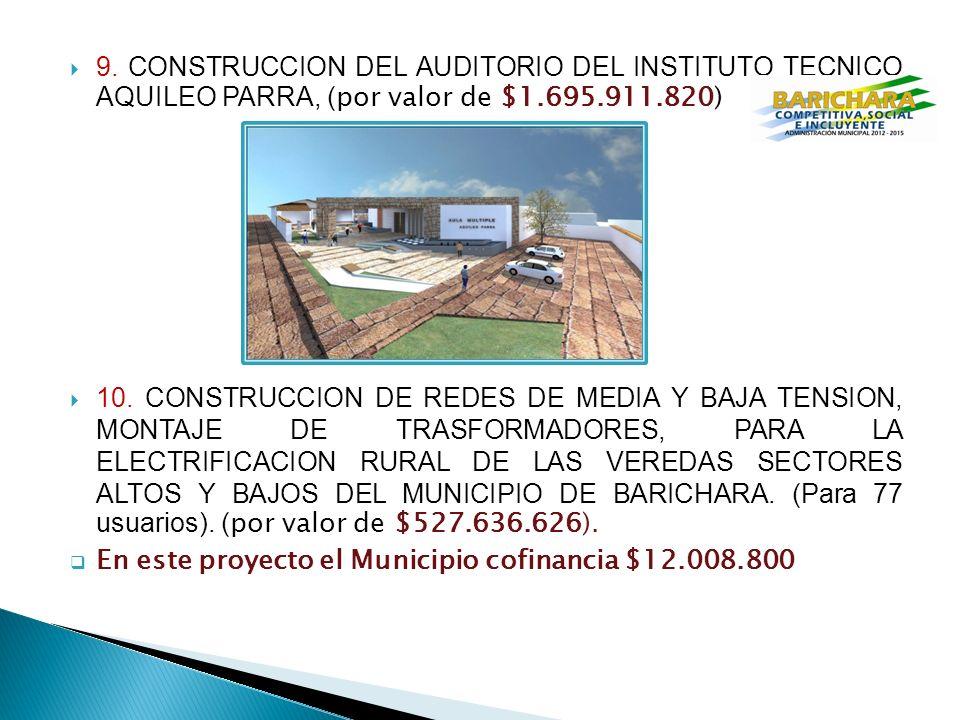 9. CONSTRUCCION DEL AUDITORIO DEL INSTITUTO TECNICO AQUILEO PARRA, (por valor de $1.695.911.820)