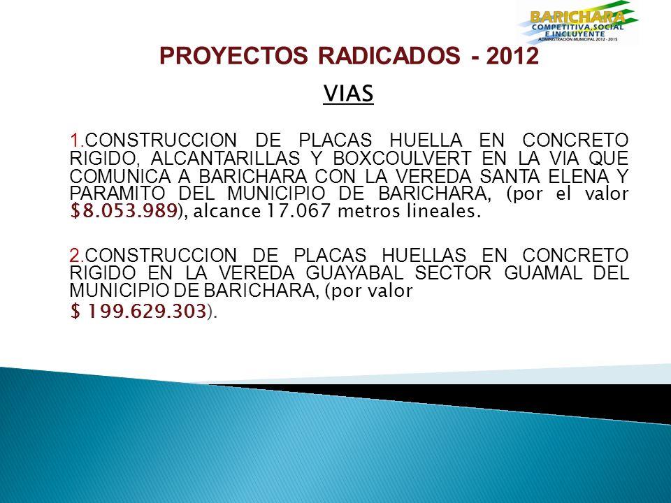 PROYECTOS RADICADOS - 2012 VIAS