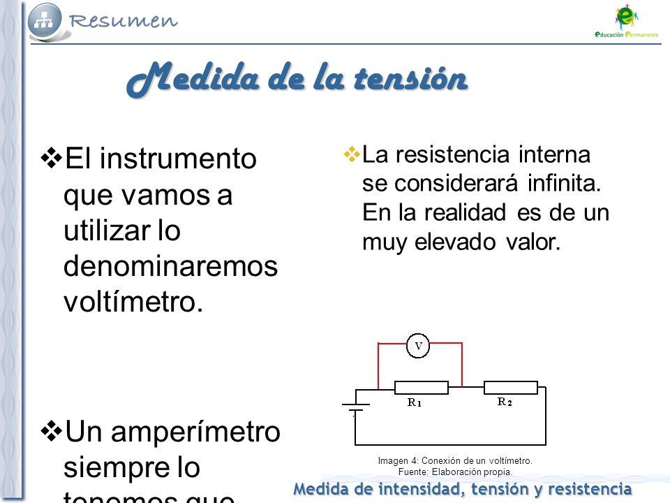 Imagen 4: Conexión de un voltímetro. Fuente: Elaboración propia.